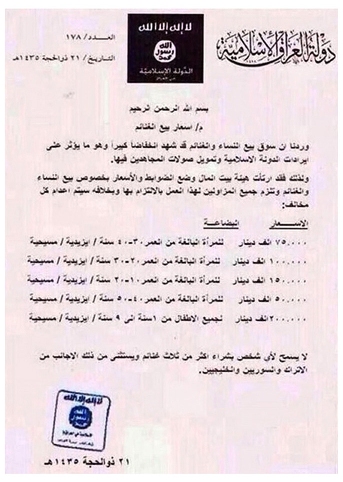 ISIS Price List For Female Slaves_October 2014